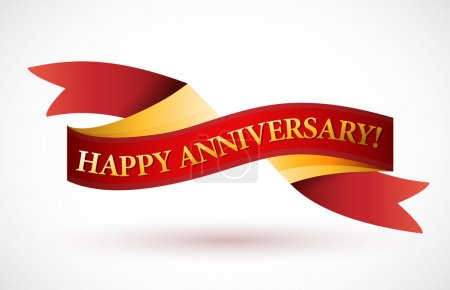 happy anniversary red waving ribbon banner