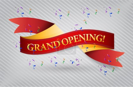 Photo for Grand opening red waving ribbon banner illustration design over white - Royalty Free Image