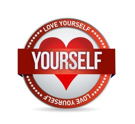 Photo pour Love Yourself badge illustration design sur blanc - image libre de droit