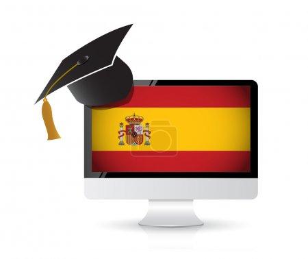Photo pour En utilisant la technologie pour apprendre l'espagnol. illustration concept de conception - image libre de droit