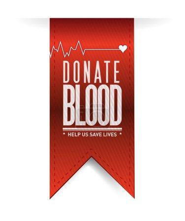 donate blood red heart banner illustration