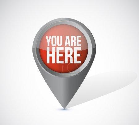 Photo pour Vous êtes ici pointeur localisateur illustration design sur un fond blanc - image libre de droit