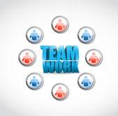 Týmová práce. návrh ilustrace sociální sítě