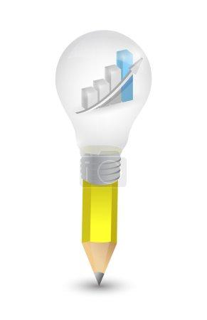 Business graph lightbulb pencil illustration desig...