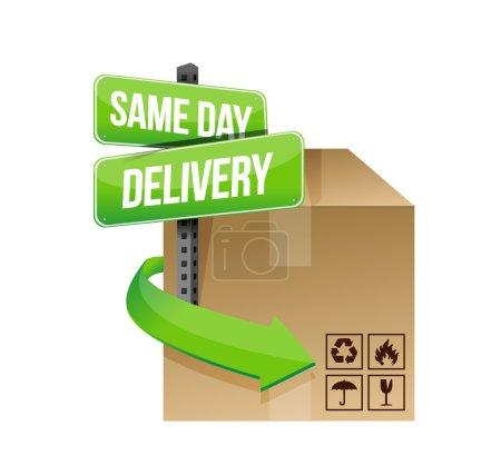Photo pour Illustration de livraison même jour concevoir sur un design de fond blanc - image libre de droit