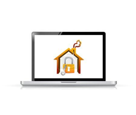 Photo pour Conception d'illustration de sécurité d'ordinateur portable et de la maison sur un fond blanc - image libre de droit