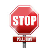 Stop pollution road sign illustration design
