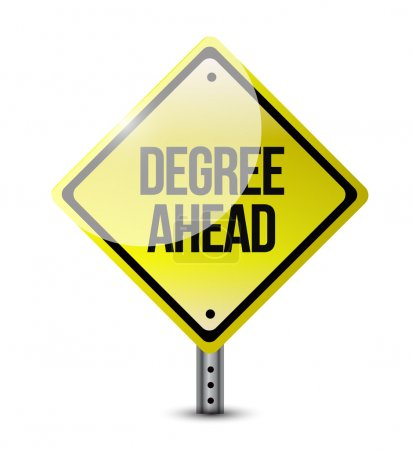 Photo for Degree ahead road sign illustration design over a white background - Royalty Free Image