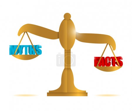 Photo for Myths and facts balance illustration design over a white background - Royalty Free Image