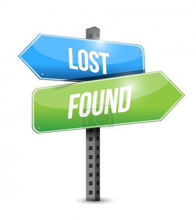 Lost and found road sign illustration design