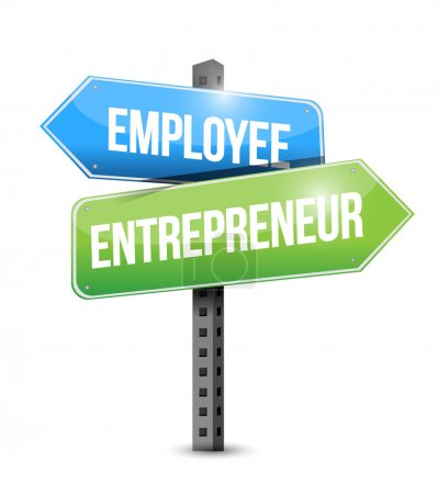 Employee, entrepreneur road sign