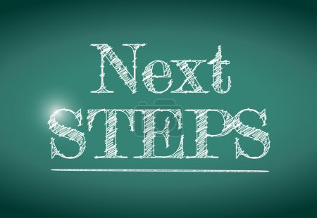 next steps message written on a chalkboard.