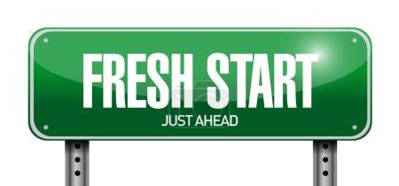 fresh start road sign illustration design