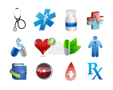 Photo for Medical icons and tools illustration design over white - Royalty Free Image