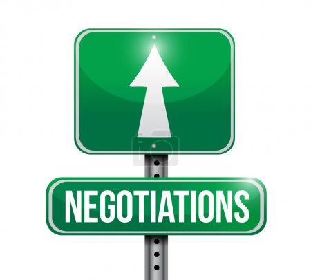 Photo pour Négociations panneau routier illustration conception sur un fond blanc - image libre de droit