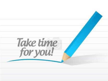 Photo pour Prendre le temps pour vous message illustration conception sur un fond blanc - image libre de droit