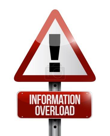 Foto de Sobrecarga de información ADVERTENCIA sign ilustración diseño sobre un fondo blanco - Imagen libre de derechos