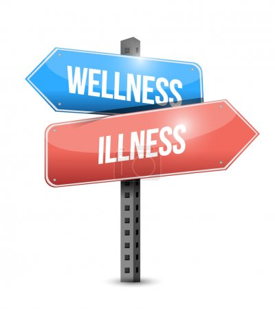 wellness versus illness road sign illustration