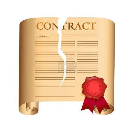 Photo pour Rompre un contrat. illustration sur fond blanc - image libre de droit