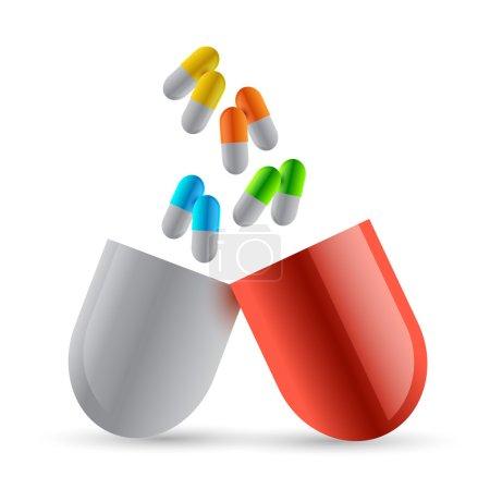 set of pills illustration design