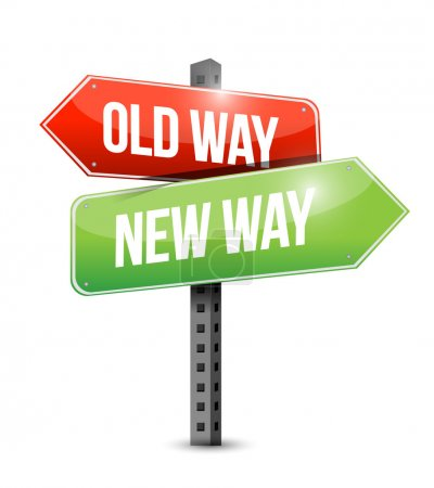 old way new way sign illustration design