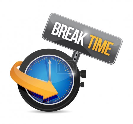 break time watch sign illustration design