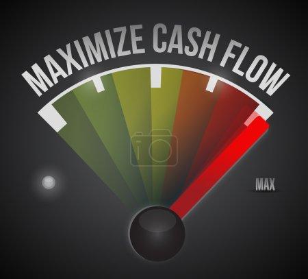 Photo pour Optimiser la conception de flux de trésorerie marque illustration sur fond noir - image libre de droit