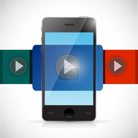 Photo pour Affichage vidéo téléphone illustration conception sur un fond blanc - image libre de droit