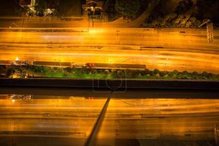 Empty aerial view of the highway in Miami at night