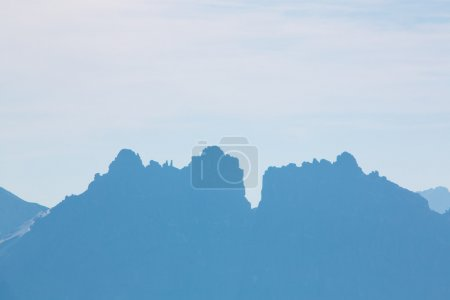 Dolomite peaks, mountains and blue horizon in Itally