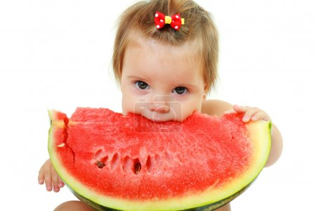 Photo for Cute little baby girl eating watermelon slice on white background - Royalty Free Image