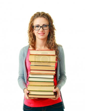 Woman in glasses holding books