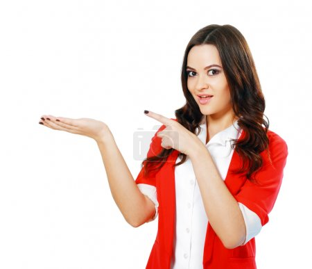 woman showing open hand palm