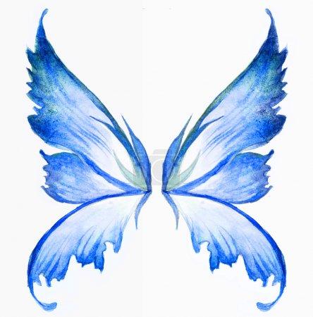 Photo pour Bleu ailes de fée aquarelle dessin à la main peinture - image libre de droit