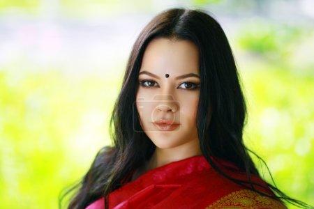 Photo pour Belle jeune femme indienne ou asiatique portrait en vêtements traditionnels. magnifique brune traditionnellement vêtue en plein air en Inde . - image libre de droit