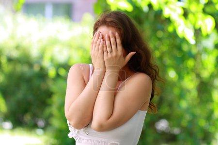 Depress woman outdoor