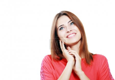 Woman looking up smiling