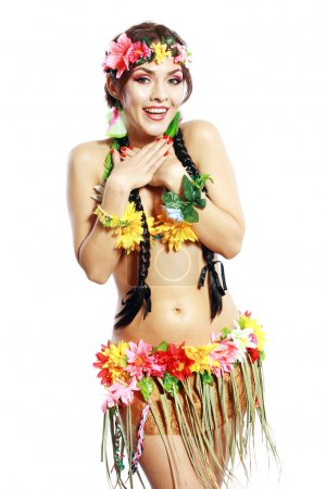 Photo for Beautiful exotic girl with Hawaiian accessories Excited woman shrugging in gesture - Royalty Free Image