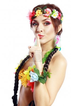 Photo for Beautiful exotic girl with Hawaiian accessories posing over white - Royalty Free Image
