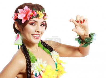Photo for Beautiful exotic Hawaiian Woman showing small amount of something with fingers - Royalty Free Image