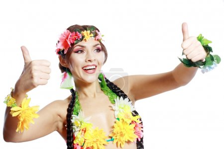 Photo for Beautiful exotic girl with Hawaiian accessories Excited woman show thumbs up in gesture - Royalty Free Image