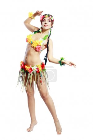 Photo for Beautiful exotic girl with Hawaiian accessories - Royalty Free Image