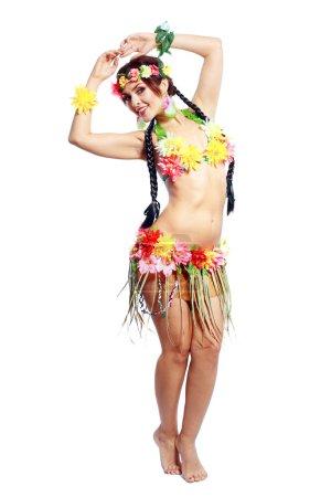 girl with Hawaiian accessories