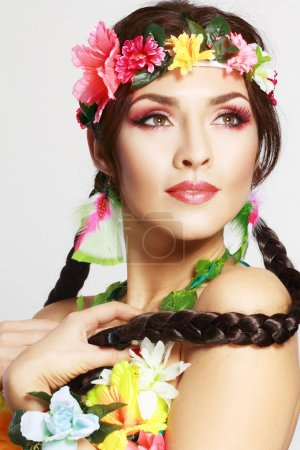 Photo for Beautiful exotic girl with Hawaiian accessories with perfect make up - Royalty Free Image
