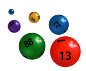 Coloured plastic spheres for lottery