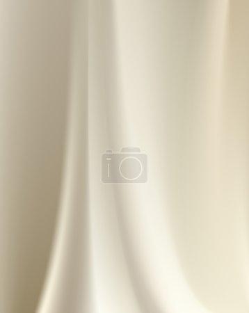 Illustration pour Fond en soie laiteuse beige avec des plis doux et des reflets horizontaux - image libre de droit