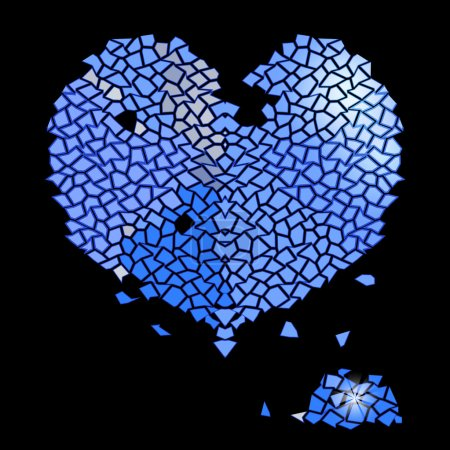 Glass blue heart made of precious stones