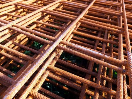 Photo for Concrete reinforcing mesh as background - Royalty Free Image