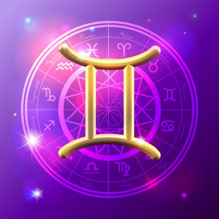 Illustration for Golden Zodiac decorative vector background - Royalty Free Image