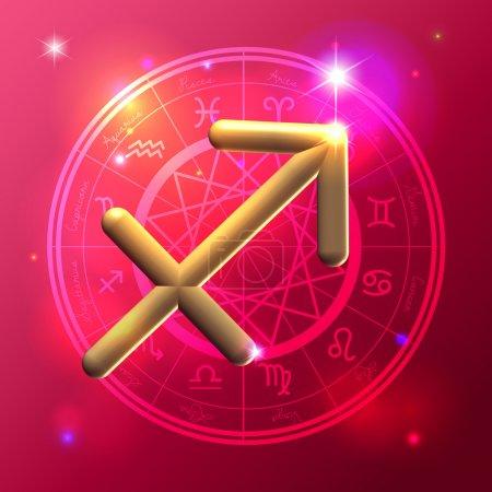 Zodiac Sagittarius golden sign